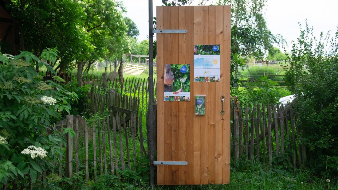 An der LERNORT Tür hängen Flyer und Plakate für Informationen und Veranstaltungshinweise aus